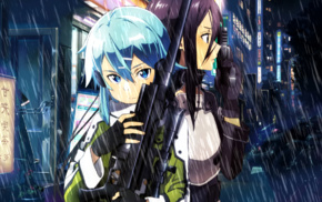 Asada Shino, Sword Art Online, anime girls, Kirigaya Kazuto, anime, Gun Gale Online