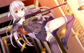long hair, hair ornament, red eyes, Pocky, gun, weapon