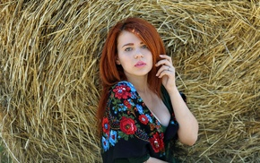 girl, redhead, model, hay, face, cleavage