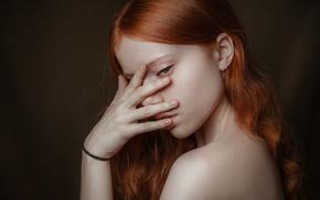 face, redhead, portrait, model, girl