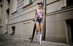 Deborah Frey, skateboarding, jean shorts, model, blonde, girl