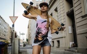 blonde, skateboarding, skinny, Deborah Frey, jean shorts, longboards