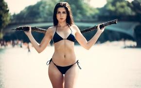 model, bikini, river, girl