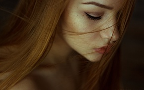 girl, depth of field, freckles, face, redhead, model