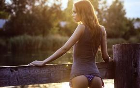 looking away, girl, model, ass, river