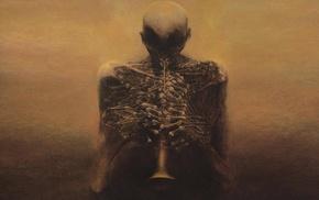 dark, detailed, Zdzisaw Beksiski, brown, painting
