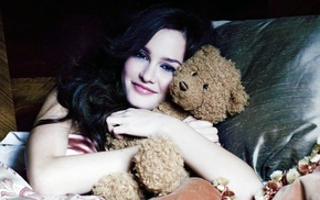 Leighton Meester, hugging, girl, black hair, actress, teddy bears