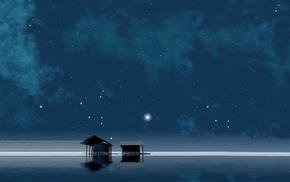night, calm, stars