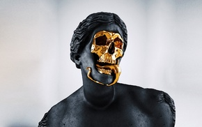 sculpture, Greek, gold, skull, Roman, statue
