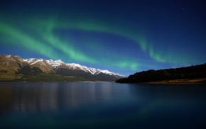 mountain, lake, night, sky, aurorae
