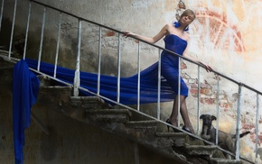 girl, dog, blue dress, stairs, model