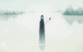 plait, blue hair, mist, spear, lake, braids