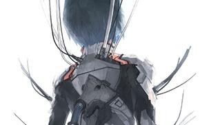 Ayanami Rei, anime girls, wires, Neon Genesis Evangelion, short hair, solo