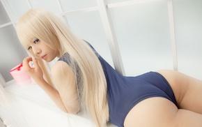 girl, Japanese girl, blonde, school swimsuits, ass, swimwear