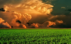 clouds, colorful, landscape, nature, field, trees