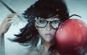 artwork, glasses, black hair, girl, ball, girl with glasses