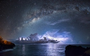 space, Milky Way, galaxy, sea, long exposure, lights