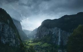 landscape, village, valley, clouds, forest, mountain