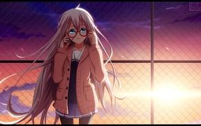 blue eyes, crossover, Vocaloid, Kyoukai no Kanata, glasses, IA Vocaloid