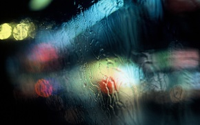 rain, lights, traffic lights, water on glass, window