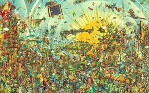 detailed, surreal, Matei Apostolescu, artwork, colorful