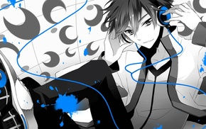 polychrome, anime, anime boys, Vocaloid, selective coloring, headphones