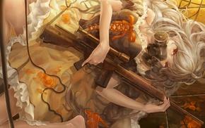 orange eyes, anime girls, gas masks, weapon, machine gun, anime