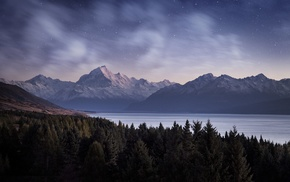 evening, forest, long exposure, hill, lake, snowy peak