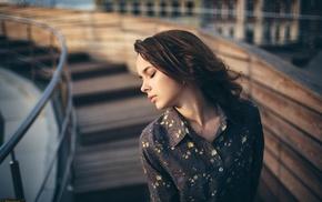 girl outdoors, model, earrings, brunette, girl, closed eyes