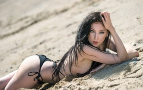 black bikinis, ass, girl, sand, hands in hair