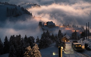 mist, landscape, Switzerland, sunset, village, winter