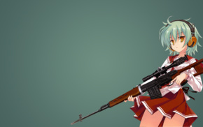 Reki Hidan no Aria, anime girls, school uniform, headphones, Hidan no Aria, sniper rifle