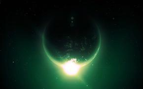 green, artwork, digital art, space art, Earth, space