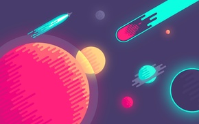 colorful, minimalism, rockets, space, artwork, spaceship