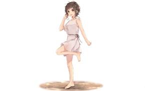 original characters, anime, brunette, white dress, anime girls, short hair