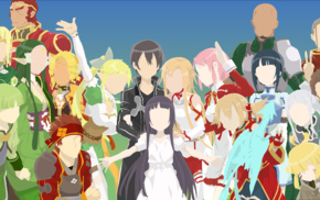 Sword Art Online, minimalism, Shinozaki Rika, Yuuki Asuna, Yui, MHCP001