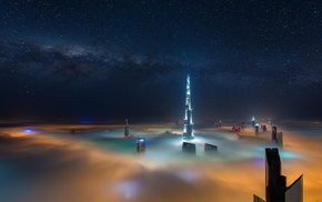 mist, landscape, long exposure, sky, architecture, Milky Way