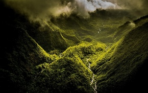 green, mountain, Hawaii, river, mist, clouds