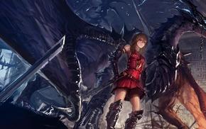 anime girls, original characters, dragon