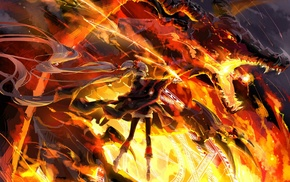 manga, anime girls, original characters, dragon, Pixiv Fantasia
