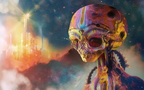 science fiction, digital art, aliens, psychedelic, colorful, artwork