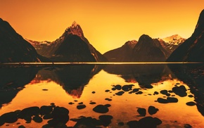 lake, nature, pebbles, calm, orange, landscape