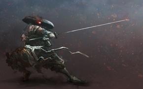 warrior, digital art, samurai, katana, artwork