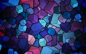 digital art, cube, blue, purple