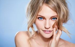 smiling, simple background, bare shoulders, Sasha Pivovarova, blonde, looking at viewer