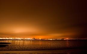 lights, airport, night
