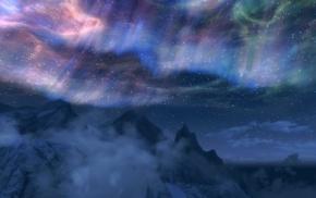 aurorae, video games, sky, clouds, The Elder Scrolls V Skyrim, mountain