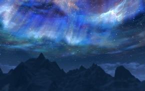 sky, video games, The Elder Scrolls V Skyrim, aurorae, clouds, mountain