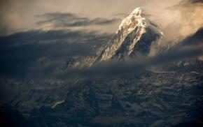 mist, Nepal, landscape, Himalayas, sunset, clouds