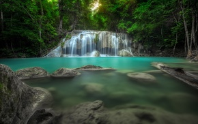 turquoise, nature, Thailand, waterfall, trees, tropical